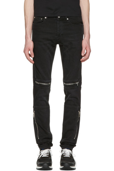 Givenchy - Black Moto Zips Jeans