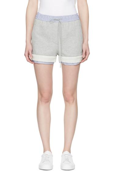 3.1 Phillip Lim - Grey Poplin-Trimmed Shorts