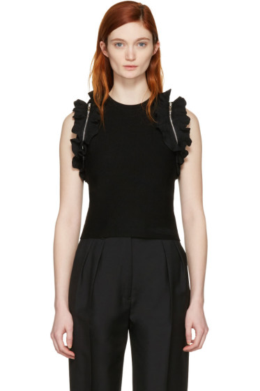 3.1 Phillip Lim - Black Ruffle Sport Tank Top