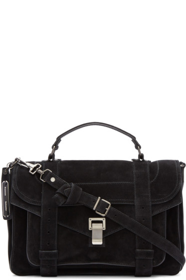 Proenza Schouler - Black Suede Medium PS1 Satchel