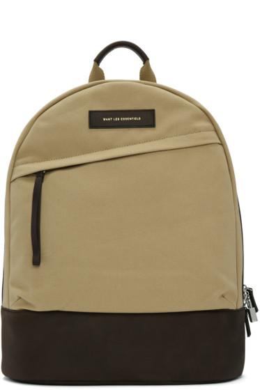 Want Les Essentiels - Beige Canvas Kastrup Backpack