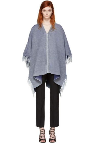Chloé - Blue V-Neck Poncho