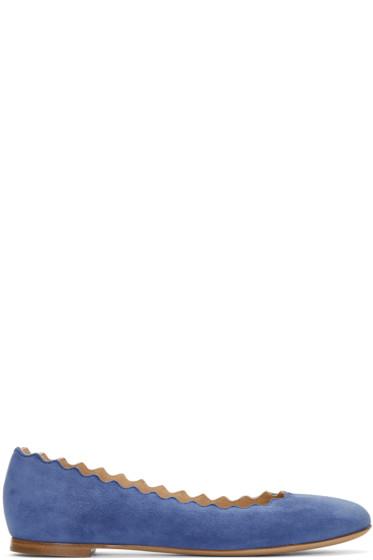 Chloé - Blue Suede Lauren Ballerina Flats
