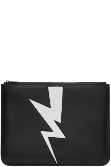 Neil Barrett - Black Thunderbolt Zip Pouch