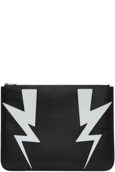Neil Barrett - Black Double Thunderbolt Zip Pouch