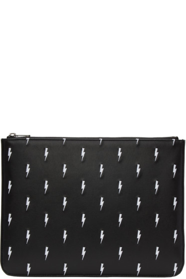 Neil Barrett - Black Embroidered Thunderbolt Zip Pouch