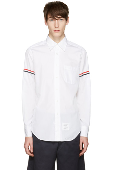 Thom Browne - Off-White Poplin Grosgrain Shirt