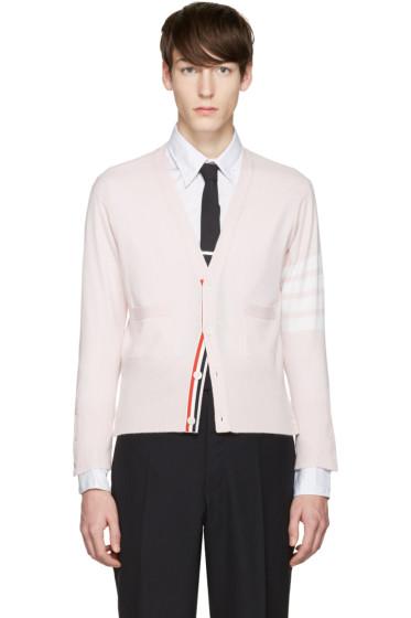 Thom Browne - Pink Classic Short V-Neck Cardigan