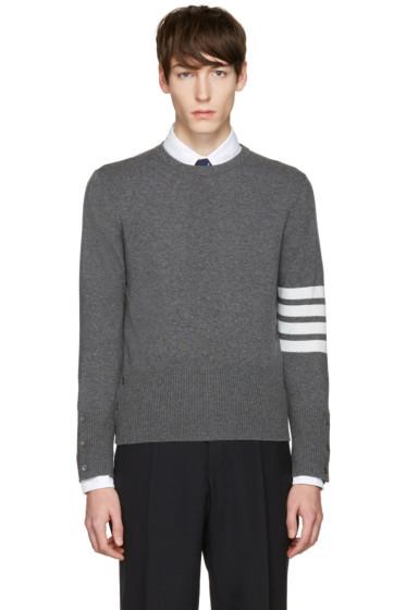 Thom Browne - Grey Classic Crewneck Short Pullover