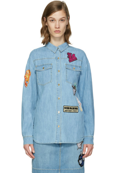 Kenzo - Blue Denim Cartoon Patches Shirt