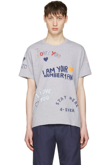 Kenzo - Grey Valentines Text T-Shirt