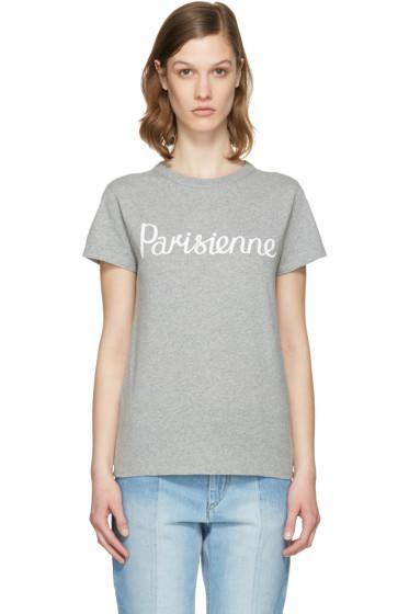 Maison Kitsuné - Grey 'Parisienne' T-Shirt