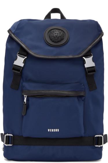 Versus - Navy Nylon Buckled Backpack