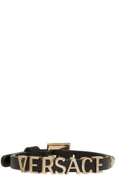 Versace - Black Leather Logo Bracelet