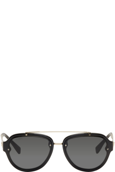 Versace - Black Double Bridge Aviator Sunglasses