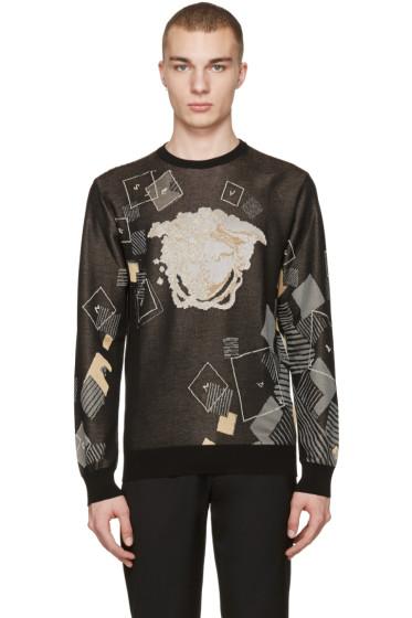 Versace - Black Jacquard Domino Pullover