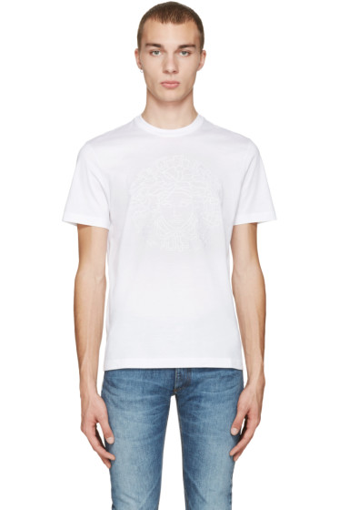 Versace - White Embroidered Medusa T-Shirt
