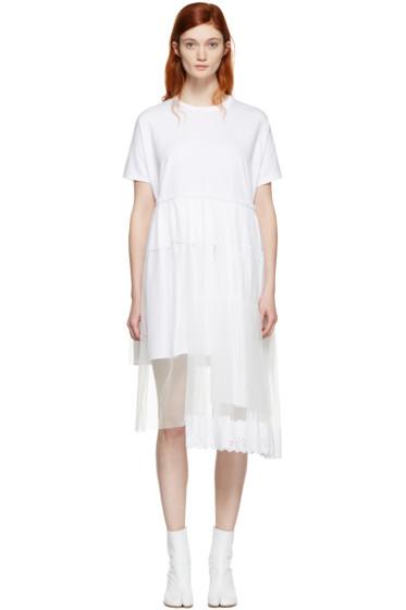 Simone Rocha - White Jersey & Tulle Tiered Dress