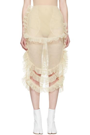 Simone Rocha - Beige Tulle Ruffled Skirt
