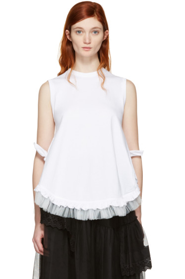 Simone Rocha - White Two Knot Frill Tank Top