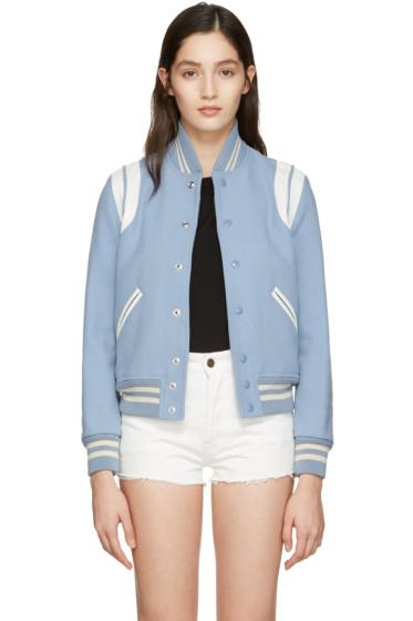Saint Laurent - Blue Wool Teddy Bomber Jacket
