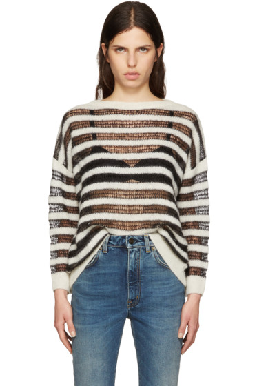 Saint Laurent - Black & Ivory Mohair Sweater