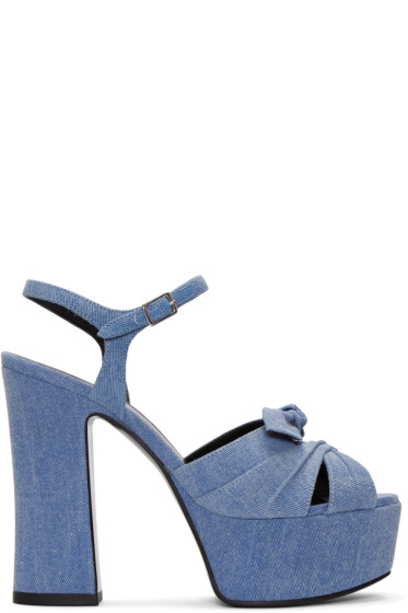 Saint Laurent - Blue Denim Candy Bow Sandals