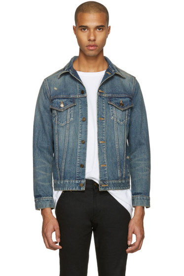 Saint Laurent - Blue Denim Destroyed Jacket