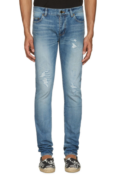 Saint Laurent - Blue Low Waisted Skinny Jeans