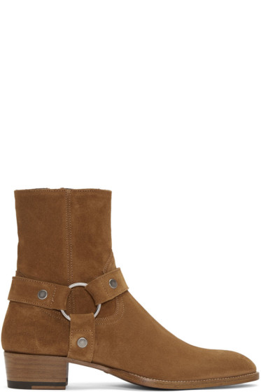 Saint Laurent - Tan Suede Wyatt Harness Boots