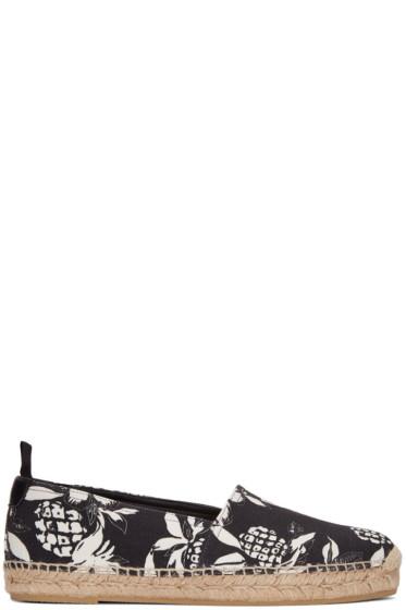 Saint Laurent - Black Canvas Hibiscus Espadrilles