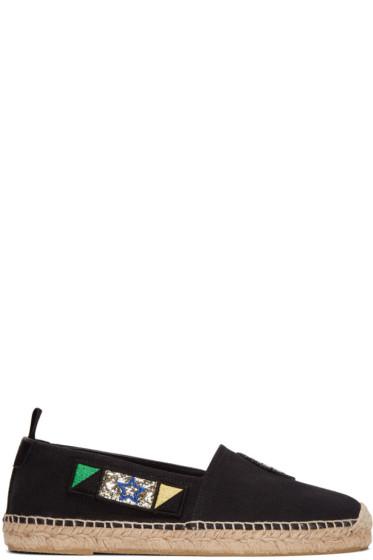 Saint Laurent - Black Canvas Patches Espadrilles