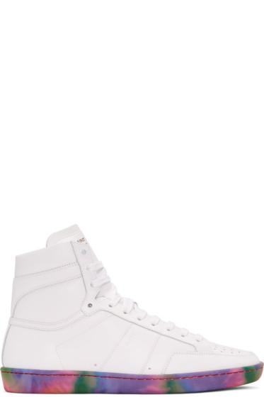 Saint Laurent - Off-White Leather SL/10H Court Classic High-Top Sneakers
