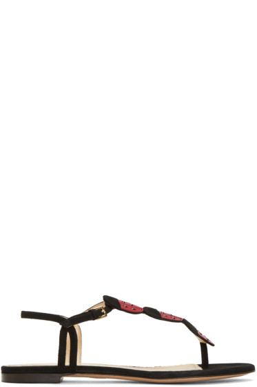 Charlotte Olympia - Black Suede Lucky Sandals