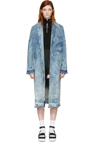 MSGM - Blue Marbled Denim Coat