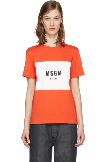 MSGM - Red Colorblock Logo T-Shirt