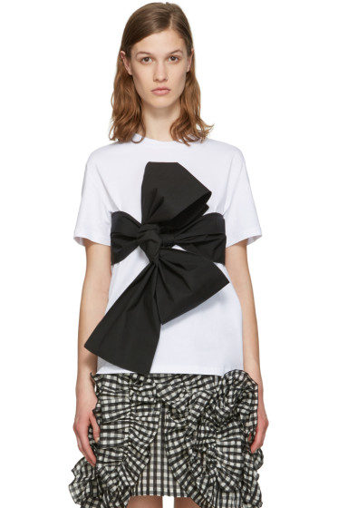 MSGM - White Contrast Bow T-Shirt