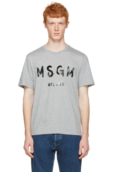 MSGM - Grey Paint Logo T-Shirt