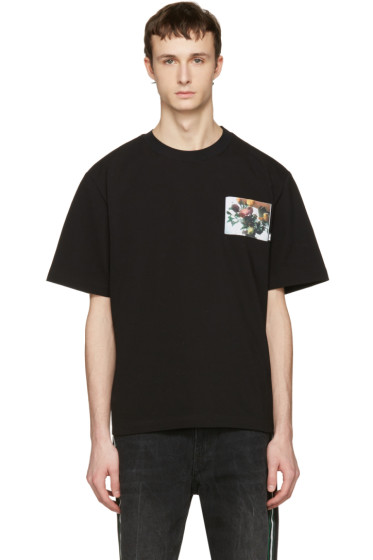 MSGM - Black Floral Patch T-Shirt