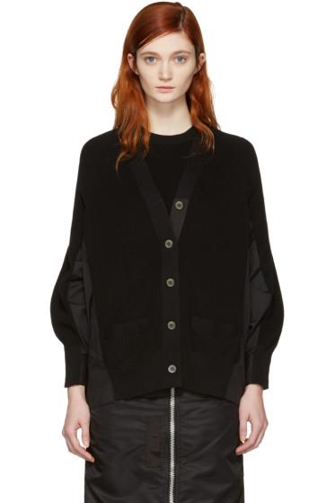 Sacai - Black Knit Cotton Cardigan