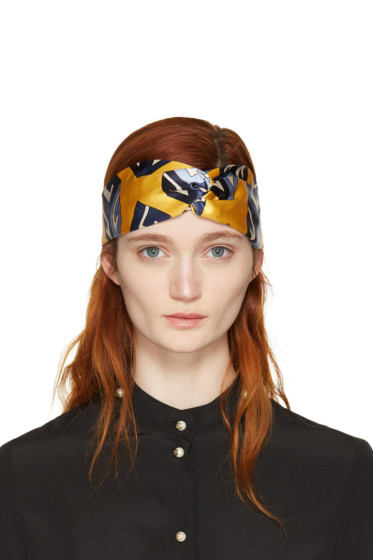 Gucci - Yellow Silk Logo Cube Headband