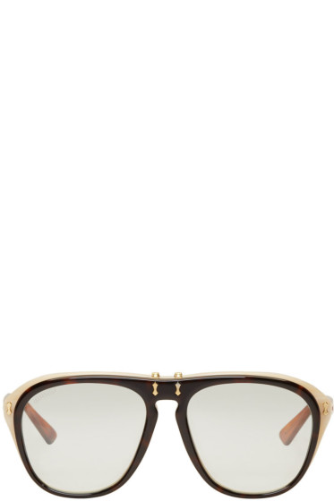 Gucci - Tortoiseshell Flip-Up Pilot Aviator Sunglasses