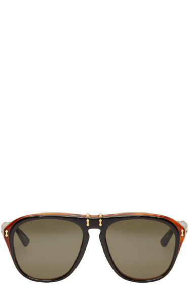 Gucci - Black Flip-Up Pilot Aviator Sunglasses