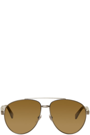 Gucci - Silver Aviator Sunglasses