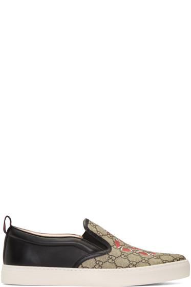 Gucci - Black Snake Dublin Slip-On Sneakers