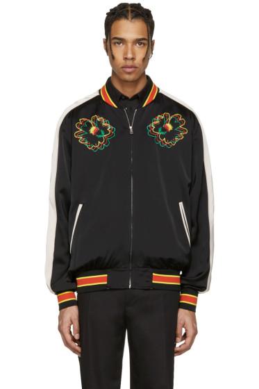 Stella McCartney - Black Embroidered Floral Bomber Jacket