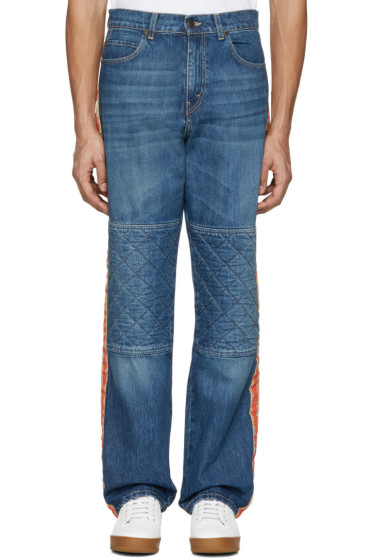 Stella McCartney - Navy Wide-Leg Quilted Jeans