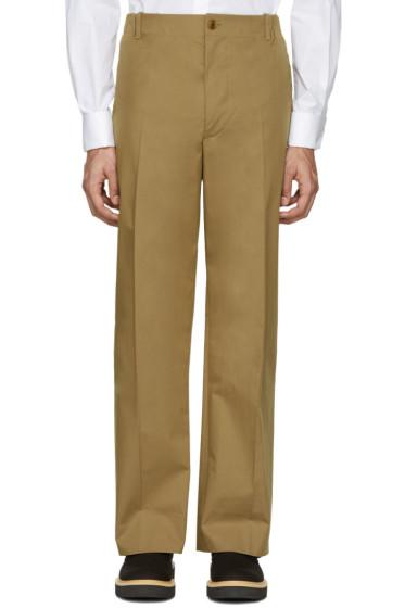 Stella McCartney - Khaki Wide-Leg Pleated Trousers