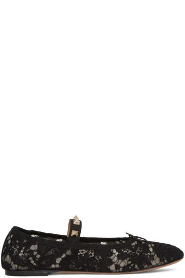 Valentino - Black Lace Rockstud Ballerina Flats