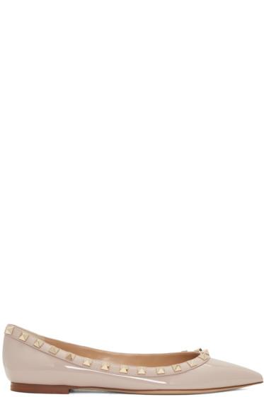 Valentino - Pink Patent Leather Rockstud Ballerina Flats